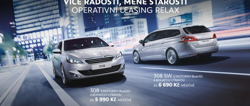 Výhodné nabídky operativního leasingu i pro fyzické osoby představuje také Peugeot s modely 308 a 308 SW již o 5990 Kč vč. DPH
